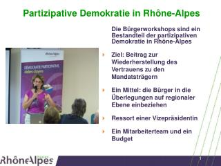 Partizipative Demokratie  in Rhône-Alpes