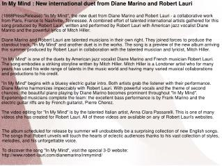 In My Mind : New international duet from Diane Marino and Ro