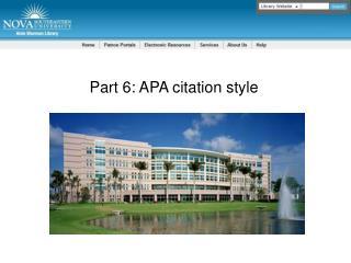 Part 6: APA citation style