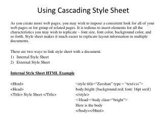 Using Cascading Style Sheet
