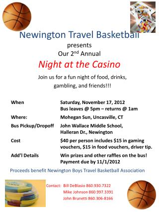 Newington Travel Basketball presents  Our 2 nd  Annual Night at the Casino