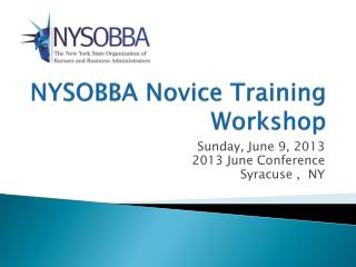 NYSOBBA Novice Training Workshop