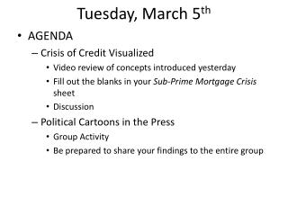 Tuesday, March 5 th