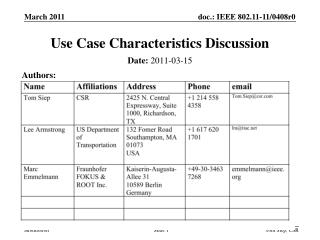 Use Case Characteristics Discussion