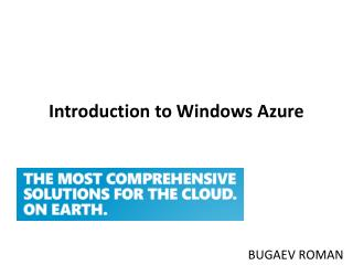 Introduction to Windows Azure