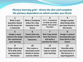 choose your own plenary learning grid ks3