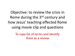 To copy list of terms and identify them as a review