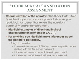 """The Black Cat"" Annotation Assignment"