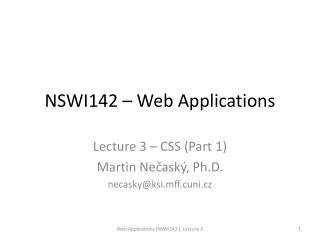 NSWI142 – Web Applications