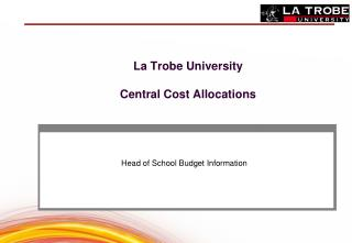 La Trobe University Central Cost Allocations
