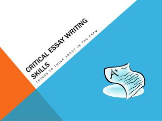 Critical Essay Writing Skills