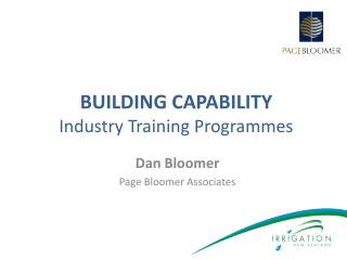 BUILDING CAPABILITY  Industry Training Programmes