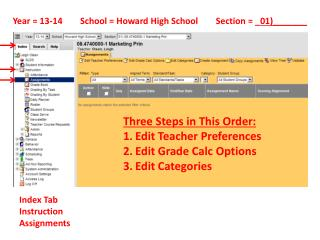 Year = 13-14        School = Howard High School        Section = _ 01)_______