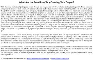 What Are the Benefits of Dry Cleaning Your Carpet