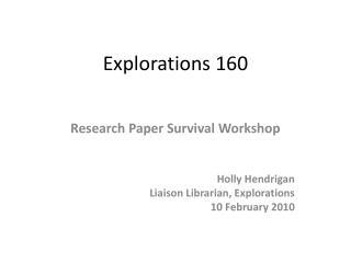 Explorations 160