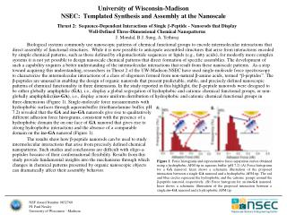 University of Wisconsin-Madison NSEC:   Templated  Synthesis and Assembly at the  Nanoscale