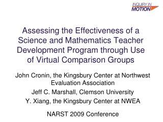 Assessing the Effectiveness of a Science and Mathematics Teacher Development Program through Use of Virtual Comparison G