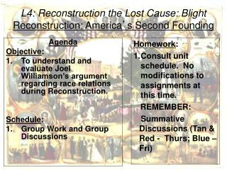 L4: Reconstruction  the Lost Cause: Blight Reconstruction: America ' s Second Founding