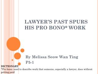 LAWYER'S PAST SPURS HIS PRO BONO* WORK