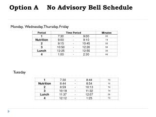 Option A    No Advisory Bell Schedule