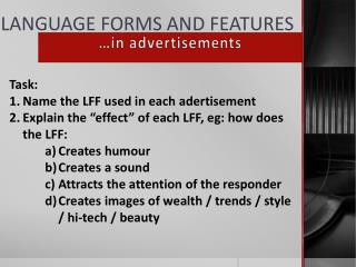LANGUAGE FORMS AND FEATURES