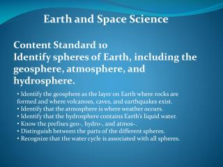 Earth and Space Science Content  Standard 10