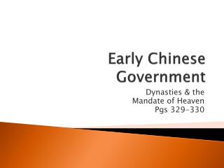 Early Chinese Government