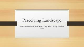 Perceiving Landscape
