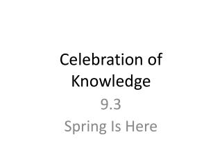 Celebration of Knowledge