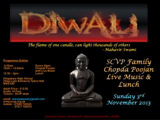SCVP  Family  Chopda  Poojan Live Music & Lunch Sunday 3 rd November  2013