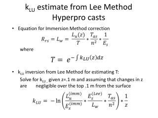 k LU  estimate from Lee Method  Hyperpro  casts