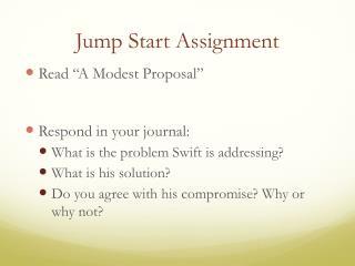 Jump Start Assignment