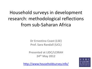 Household surveys in development research: methodological reflections  from  sub-Saharan Africa