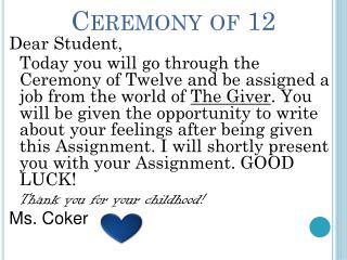 Ceremony of 12