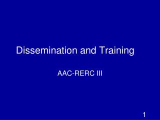 Dissemination and Training