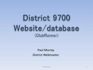District 9700  Website/database (ClubRunner)
