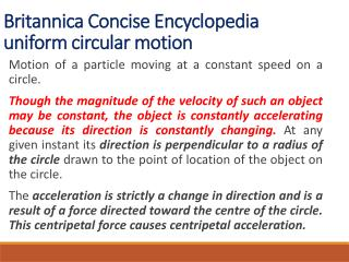 Britannica Concise Encyclopedia uniform circular motion