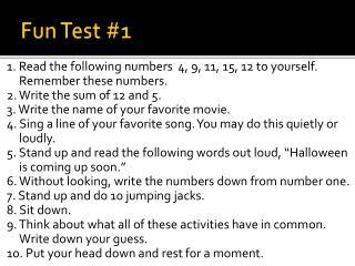 Fun  Test #1