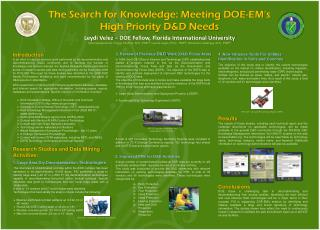 The Search for Knowledge: Meeting DOE-EM's High Priority D&D Needs
