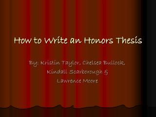 How to Write an Honors Thesis