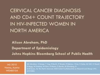 Cervical cancer diagnosis and CD4+ Count trajectory in HIV-infected women in north  america