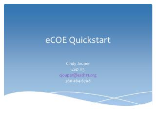 eCOE  Quickstart