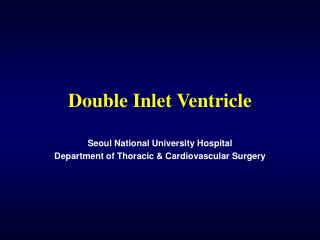 Double Inlet Ventricle