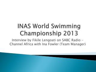INAS World Swimming Championship 2013
