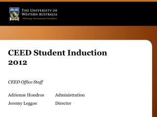 CEED Student Induction 2012