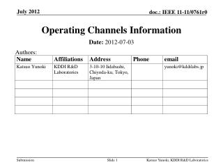 Operating Channels Information