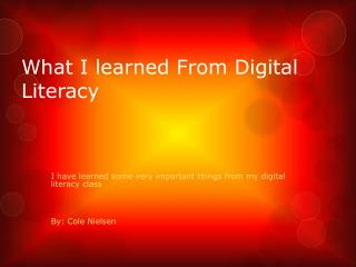 What I learned From Digital Literacy
