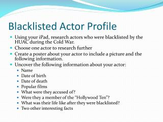 Blacklisted Actor Profile