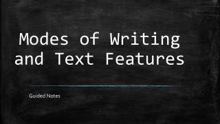 Modes of Writing and Text Features