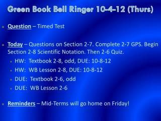 Green Book  Bell Ringer  10-4-12 (Thurs)